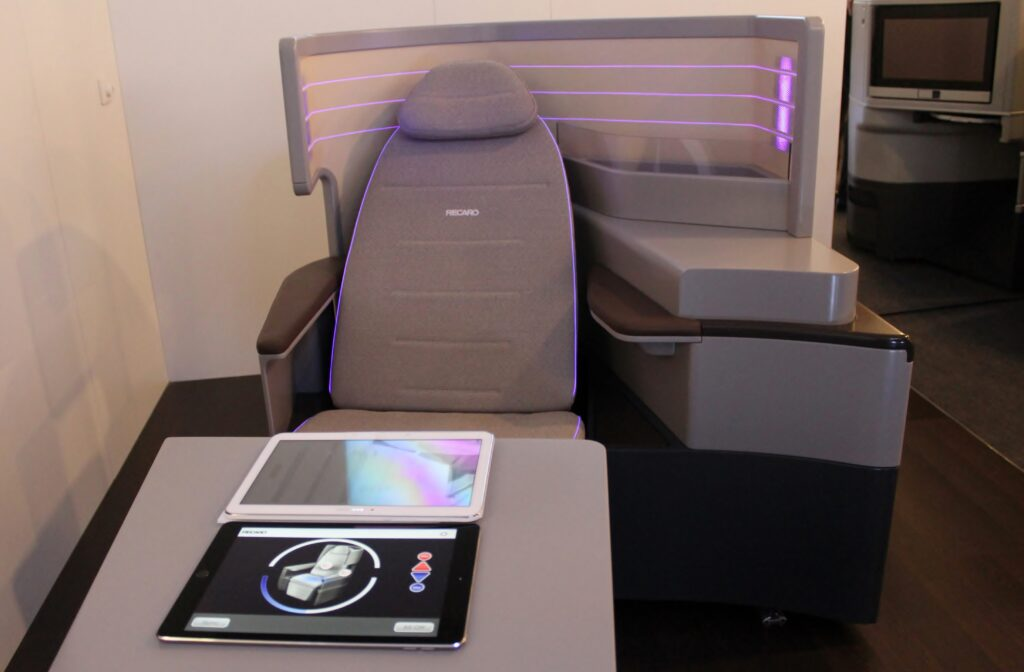 Recaro business class seat with heating and cooling system