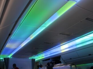 The Northern Lights mood lighting effects on the Finnair Airbus A350
