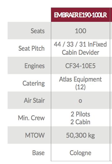 Fact sheet WDL Aviation Embraer E190-100LR