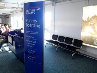 British Airways priority boarding at Newcastle airport