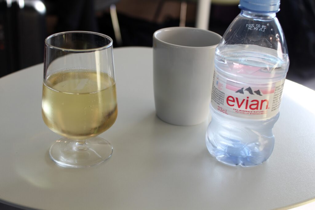 Champagne offered in the Air France Lounge at Paris CDG