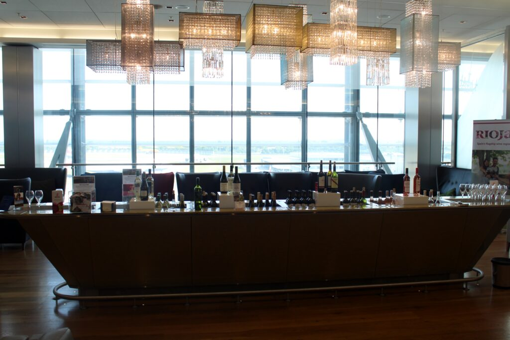 Rioja wines at the Gold Bar in the British Airways Galleries First Lounge at London Heathrow