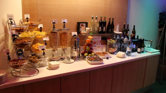 The drinks selection in the Aeroflot Blues Lounge at Moscow Sheremetyevo