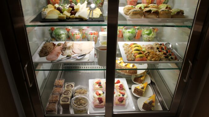 The food selection in the LOT Elite Club Lounge in Warsaw