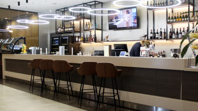 The manned bar in the All Star Lounge at Moscow Sheremetyevo