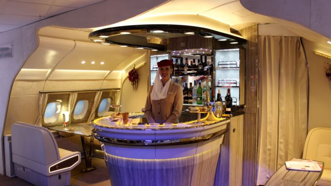 The new Emirates business class bar on the Airbus A380