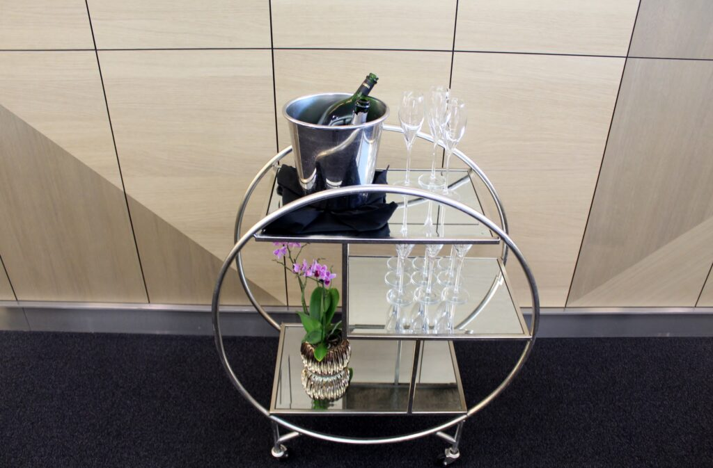 The new champagne cart in the British Airways Galleries First Lounge at London Heathrow Terminal 5