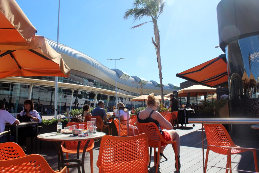 The outdoor cafe at Faro airport