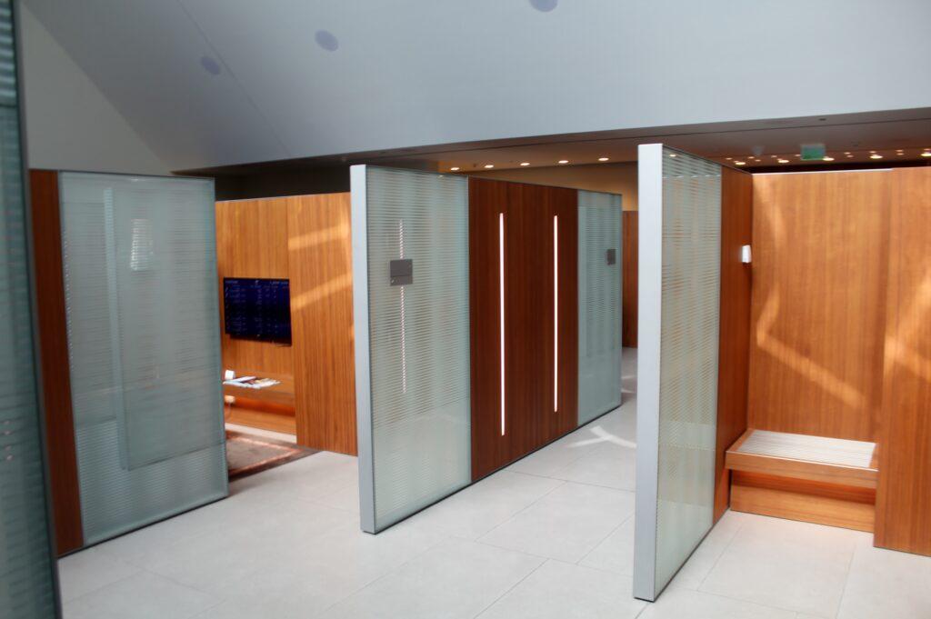 The quiet area in the Qatar Airways Al Mourjan Lounge in Doha
