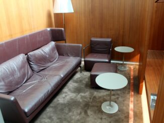 The quiet area in the Qatar Airways Al Mourjan Lounge in Doha