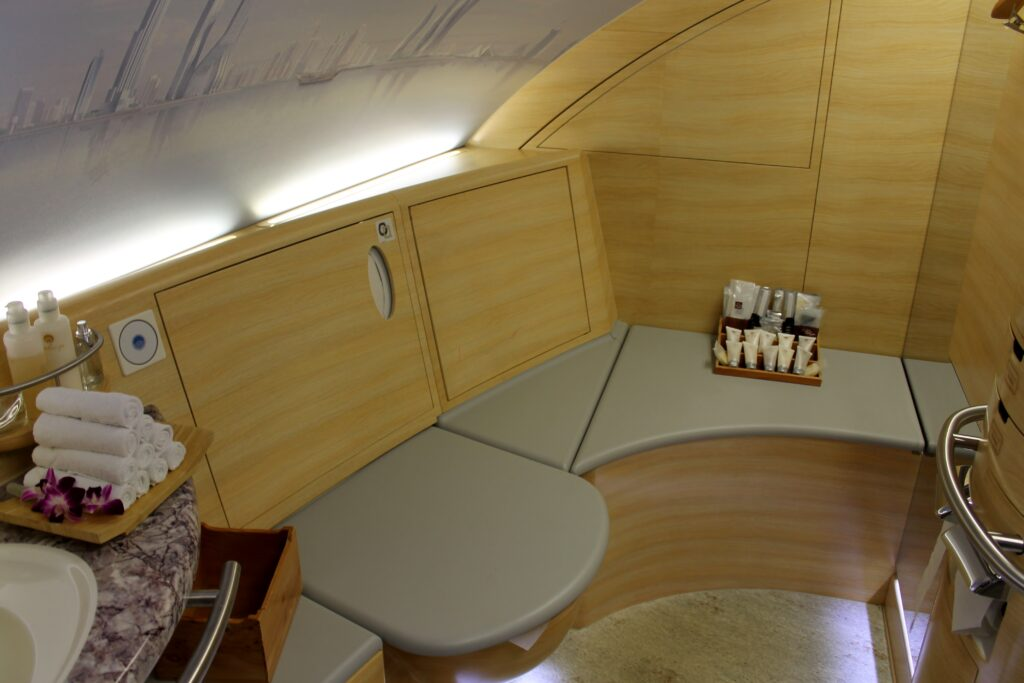 The shower in Emirates First Class on the Airbus A380