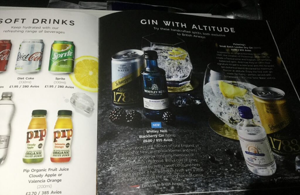 Whitley Neill Blackberry Gin on British Airways