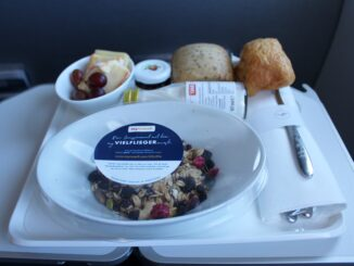 Breakfast in Lufthansa business class Munich-Barcelona