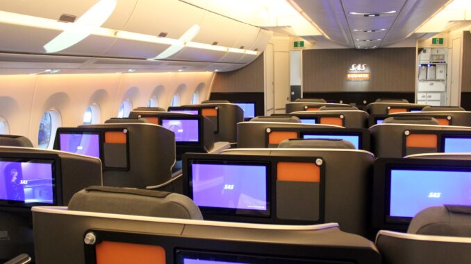 SAS Business Class Cabin on the Airbus A350