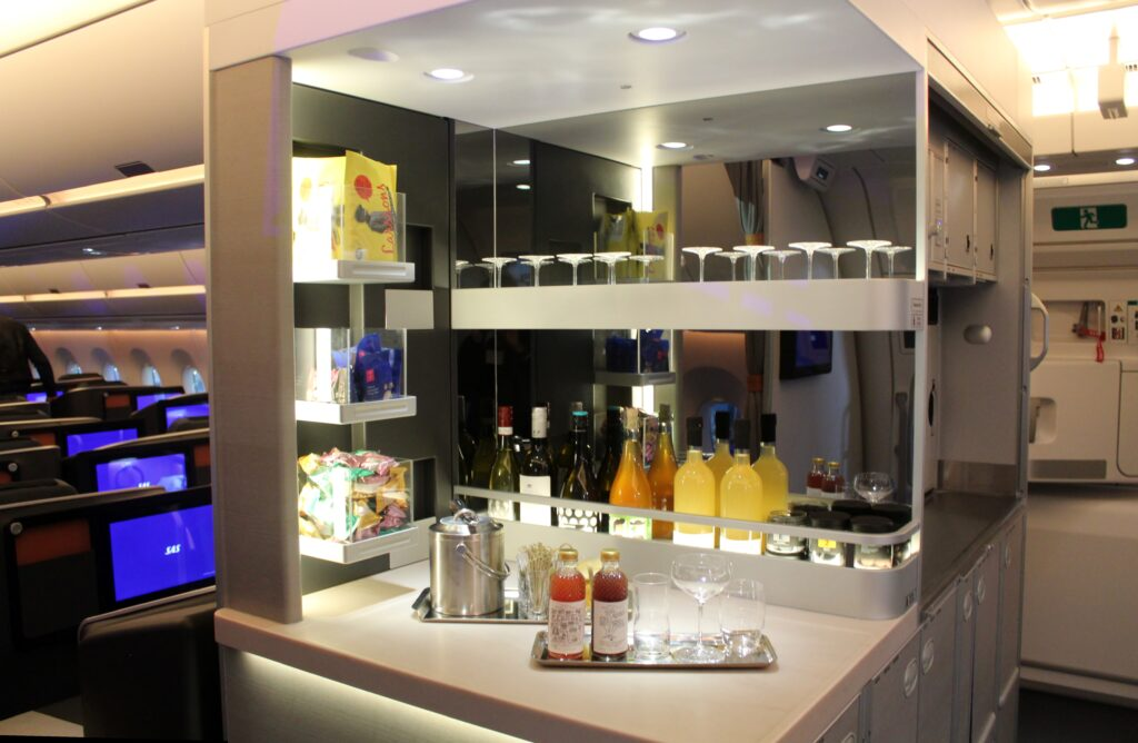 SAS Business Class self-service bar on the Airbus A350