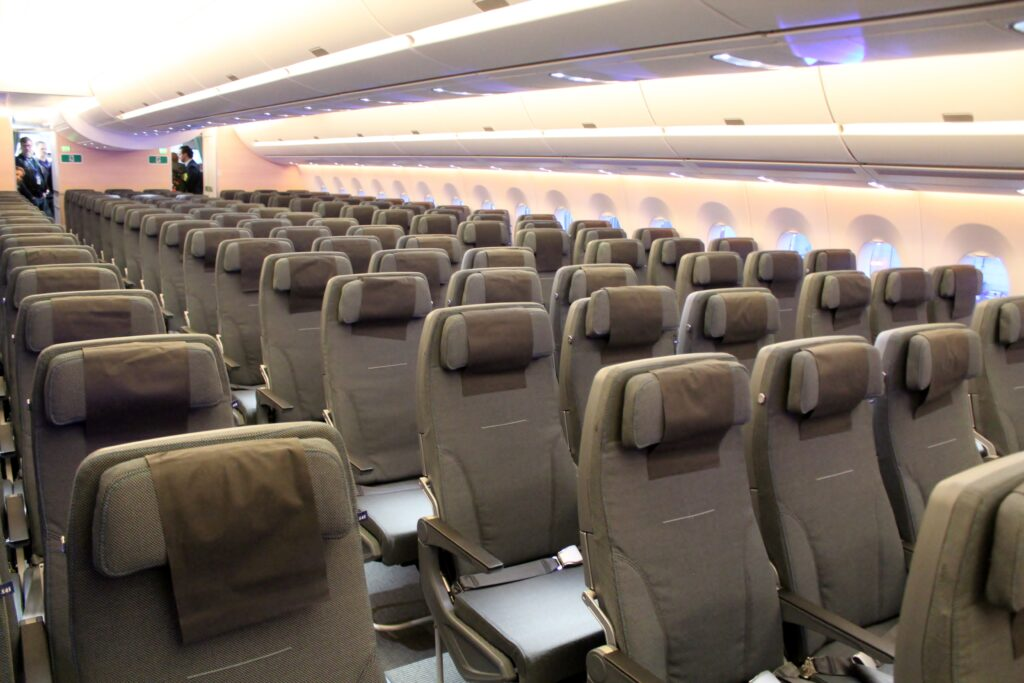 SAS Go Economy Class cabin on the Airbus A350