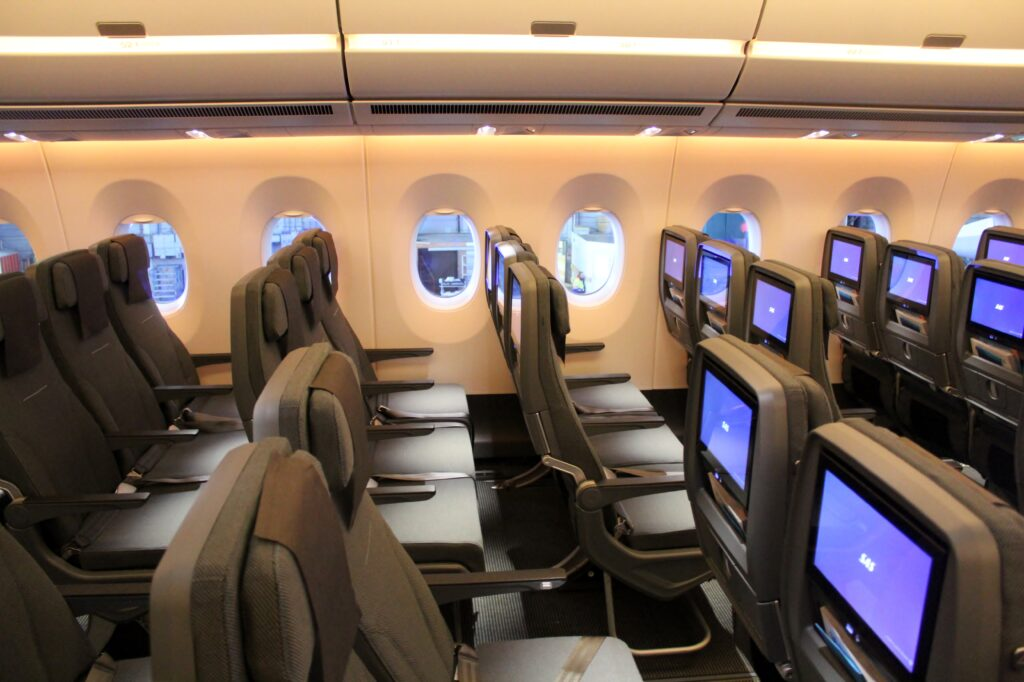 SAS Go Economy Class seats on the Airbus A350