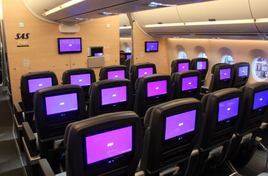 SAS Plus Premium Economy cabin on the Airbus A350