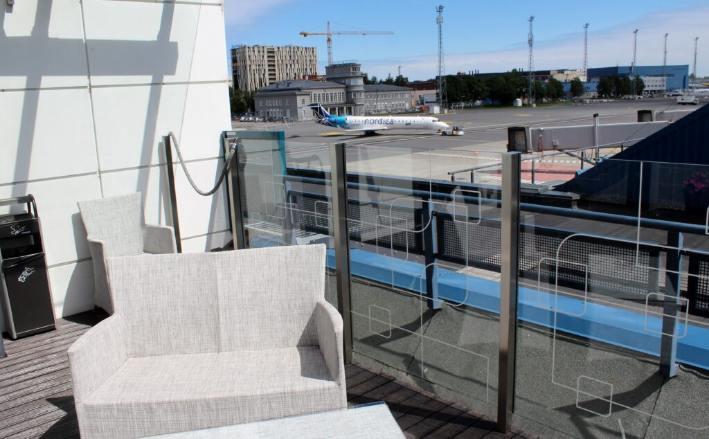 The outdoor lounge terrace at Tallinn Airport Business Lounge