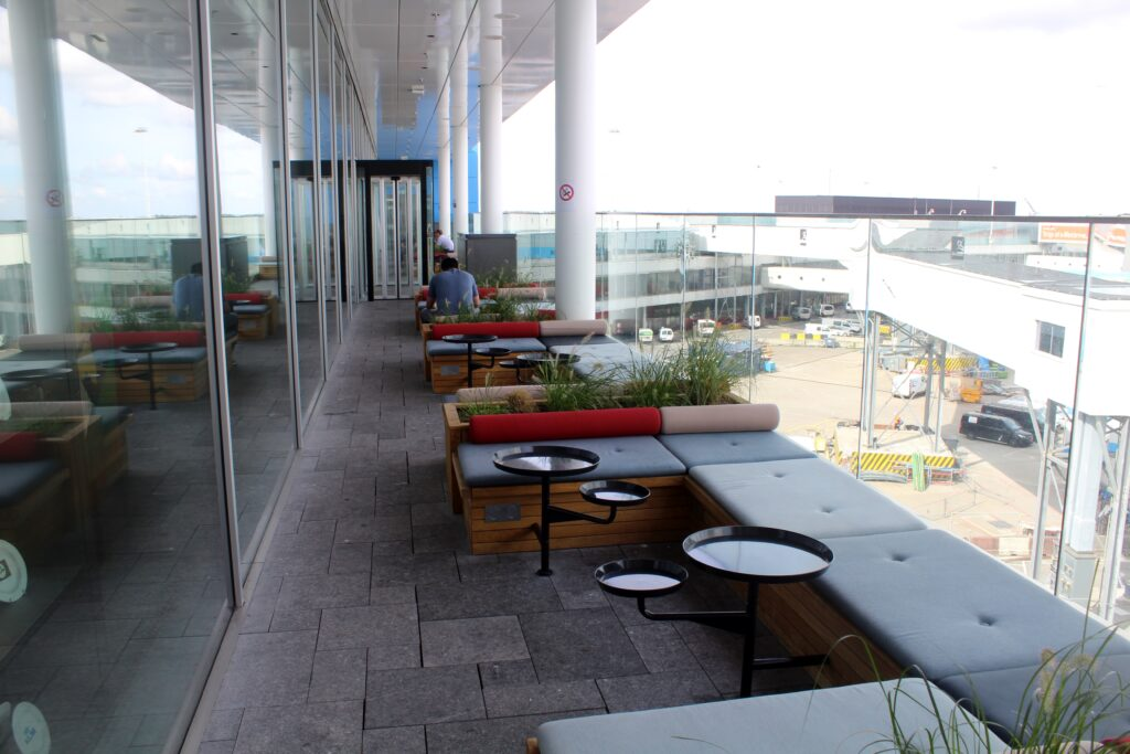 The outdoor terrace in the KLM Crown Lounge at Amsterdam Schiphol