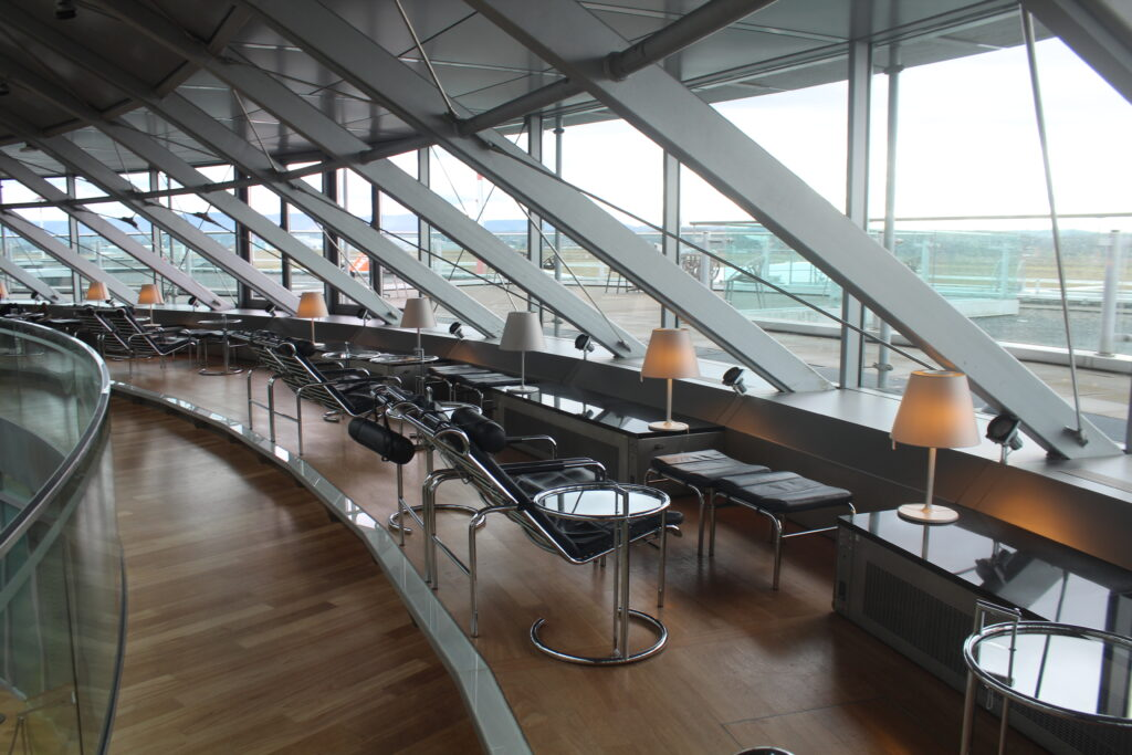 The outdoor terrace in the Skyview lounge in Basel