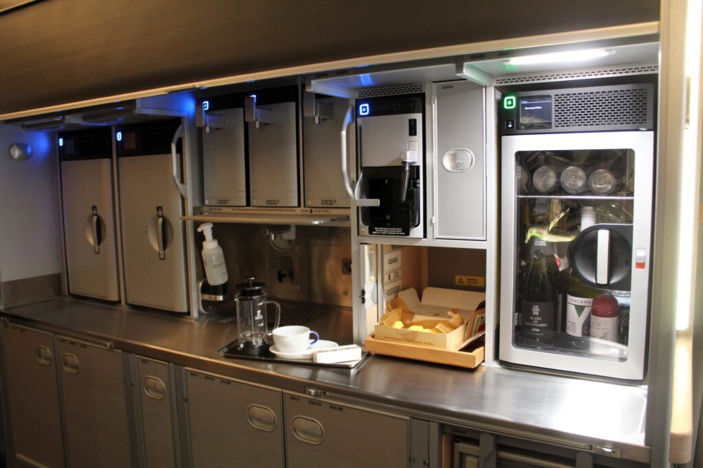 The self-service bar in SAS business class on the Airbus A350