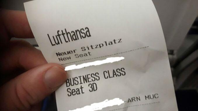 Upgraded to Lufthansa business class Stockholm-Munich