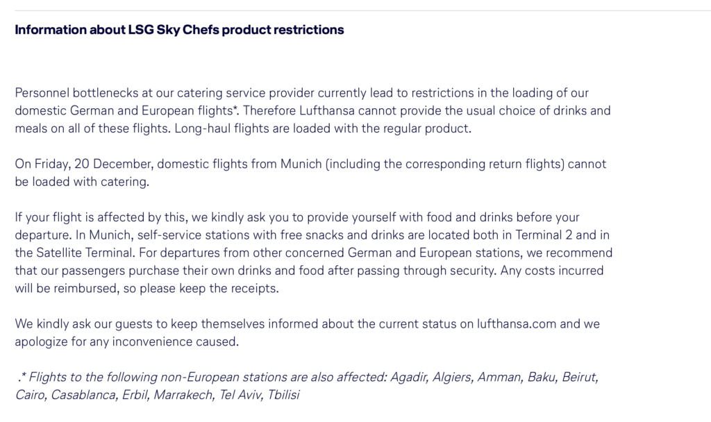Lufthansa catering strike