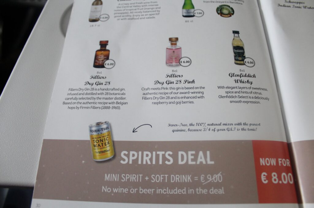 Filliers gin in Brussels Airlines economy class