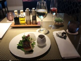Dinner in the Qatar Airways Premium Lounge in Singapore