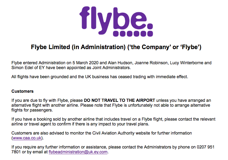 Flybe files for bankruptcy