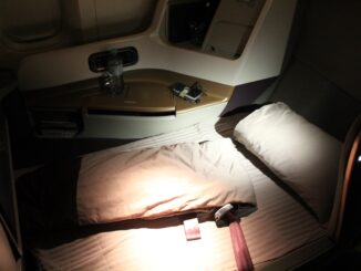 Singapore Airlines Business Class bed on the Boeing 777-300ER