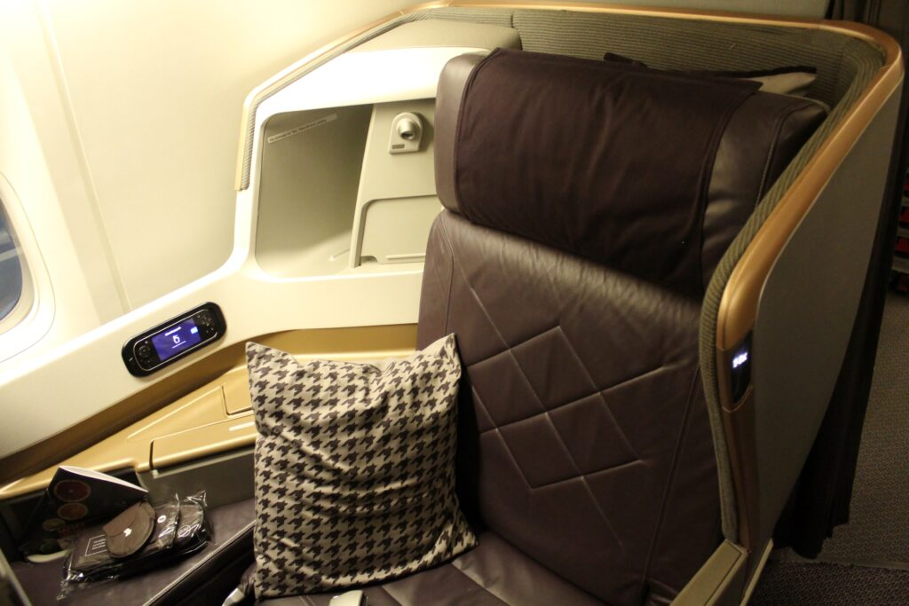 Singapore Airlines Business Class seat on the Boeing 777-300ER